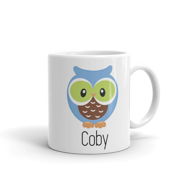 Kids Owl Mug Blue & Green (Unbreakable)