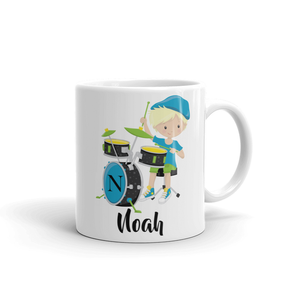 Kids Boy Band Drummer Design 1 Mug (Unbreakable)