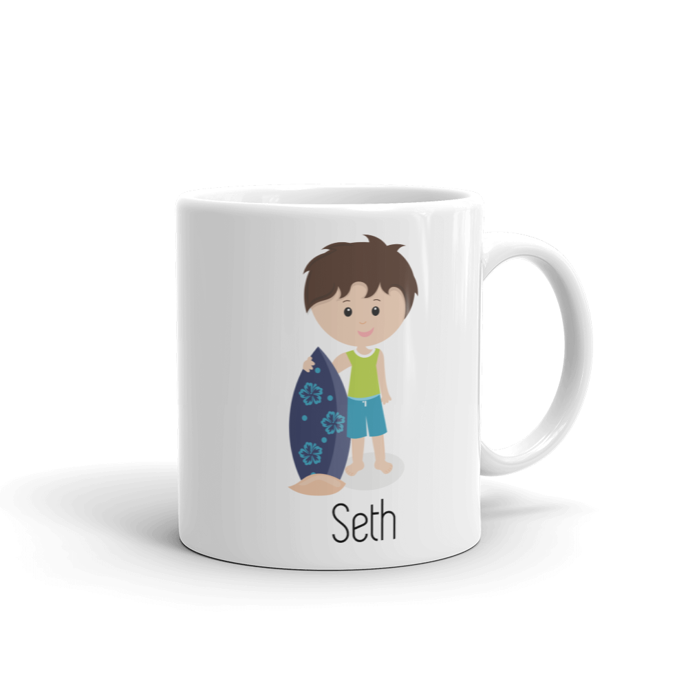 Kids Surfer Boy Mug Brown Hair (Unbreakable)