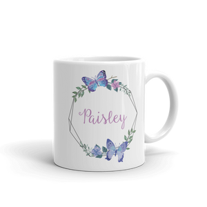 Butterfly Geo Wreath Ceramic Mug