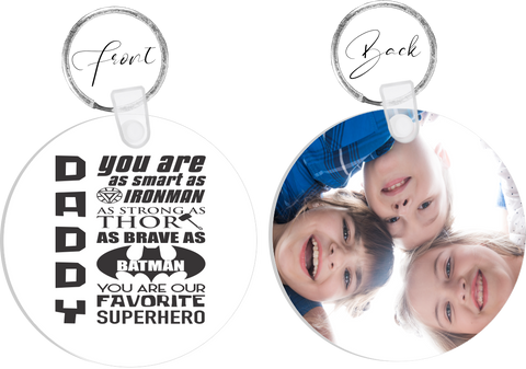 Daddy Your My SUPERHERO Photo Keyring