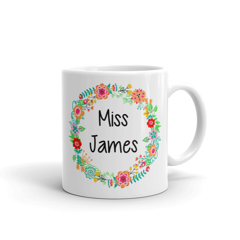 Personalised Floral Wreath Ceramic Teacher Mug