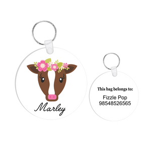 Floral Cow Bag Tag