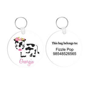 Floral Moo Cow Bag Tag