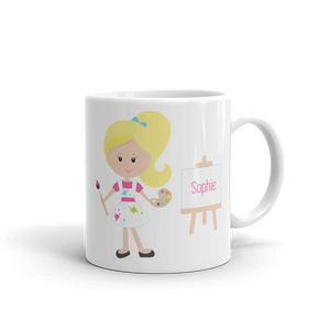 Kids Artist Blonde Girl Mug (Unbreakable)