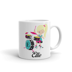 Kids Girl Band Drummer Design 1 Mug (Unbreakable)