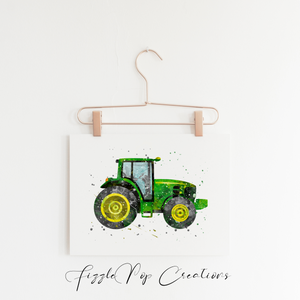 Green Tractor Wall Print