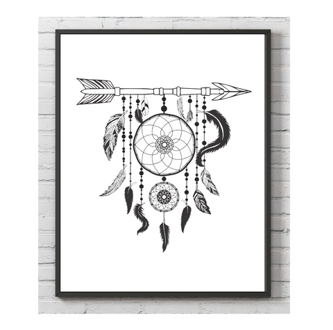 Arrow Dream Catcher Wall Print