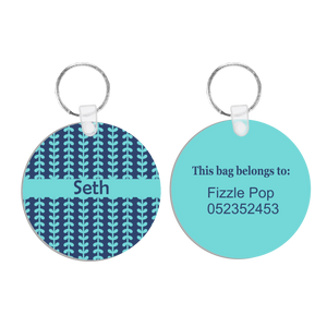 Navy & Aqua Aztec Bag Tag