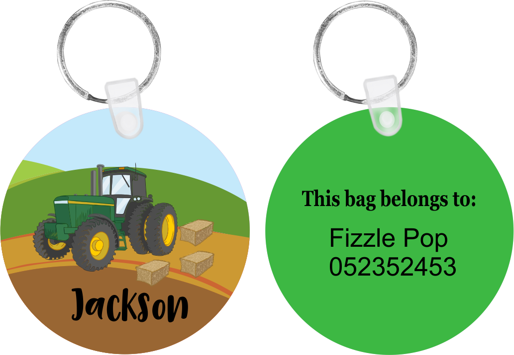 Green Tractor Bag Tag
