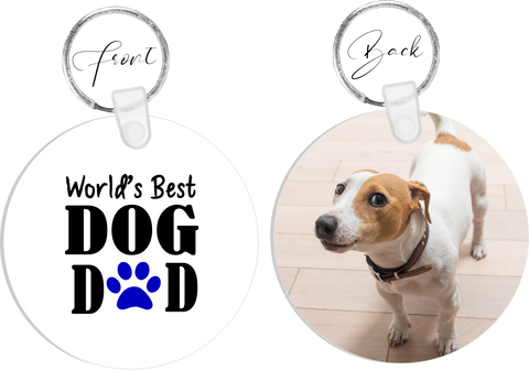 Worlds Best DOG Dad Photo Keyring