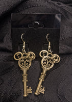 Gold Mouse Key Earrings