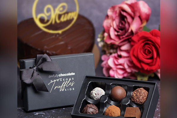 Awfully Chocolate's Mother's Day Chocolate Bundle which contains thel All Chocolate Heart Shaped Cake and a box of 6pcs Mixed Gorgeous Truffles