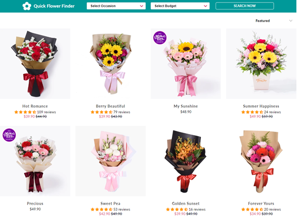 Flower Chimp's bouquets that cost less than $50
