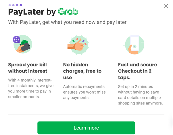 An infographic by Grab listing PayLater's functions