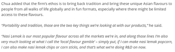 screengrab of the article stating The Kettle Gourmet's ethos