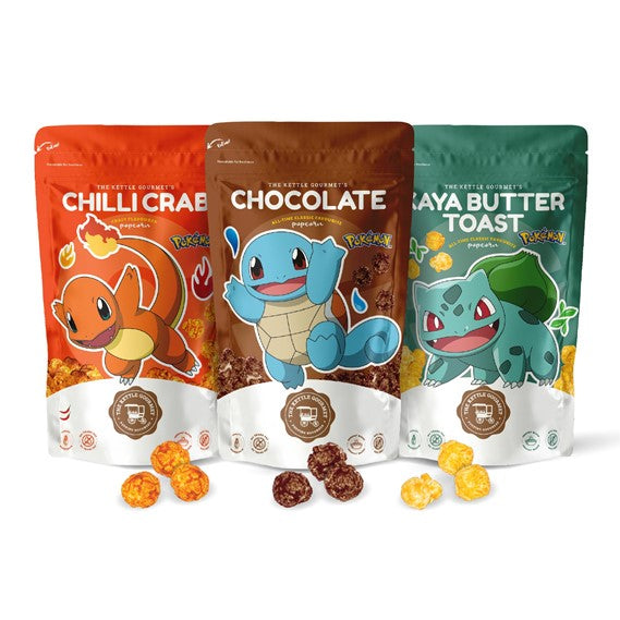 The Kettle Gourmet's Pokemon Snack Monster featuring Charmander, Squirtle and Bulbasaur on our Chilli Crab, Chocolate and Bulbasaur Snack Monsters respectively