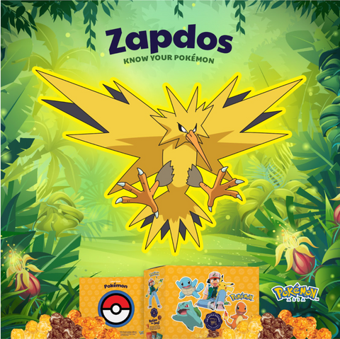 The Kettle Gourmet Pokémon gift box contains 5 different collectable cut-outs up for grabs, such as Zapdos.