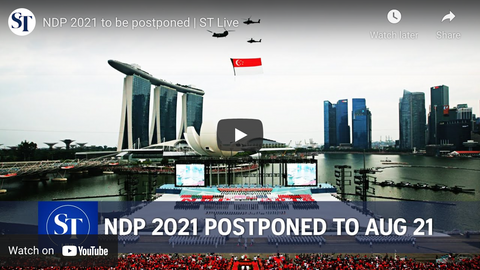 the video context the floating platform will be close till phrase 2 heighten alert is over. It is a screenshot of a video posted in The Straits Times