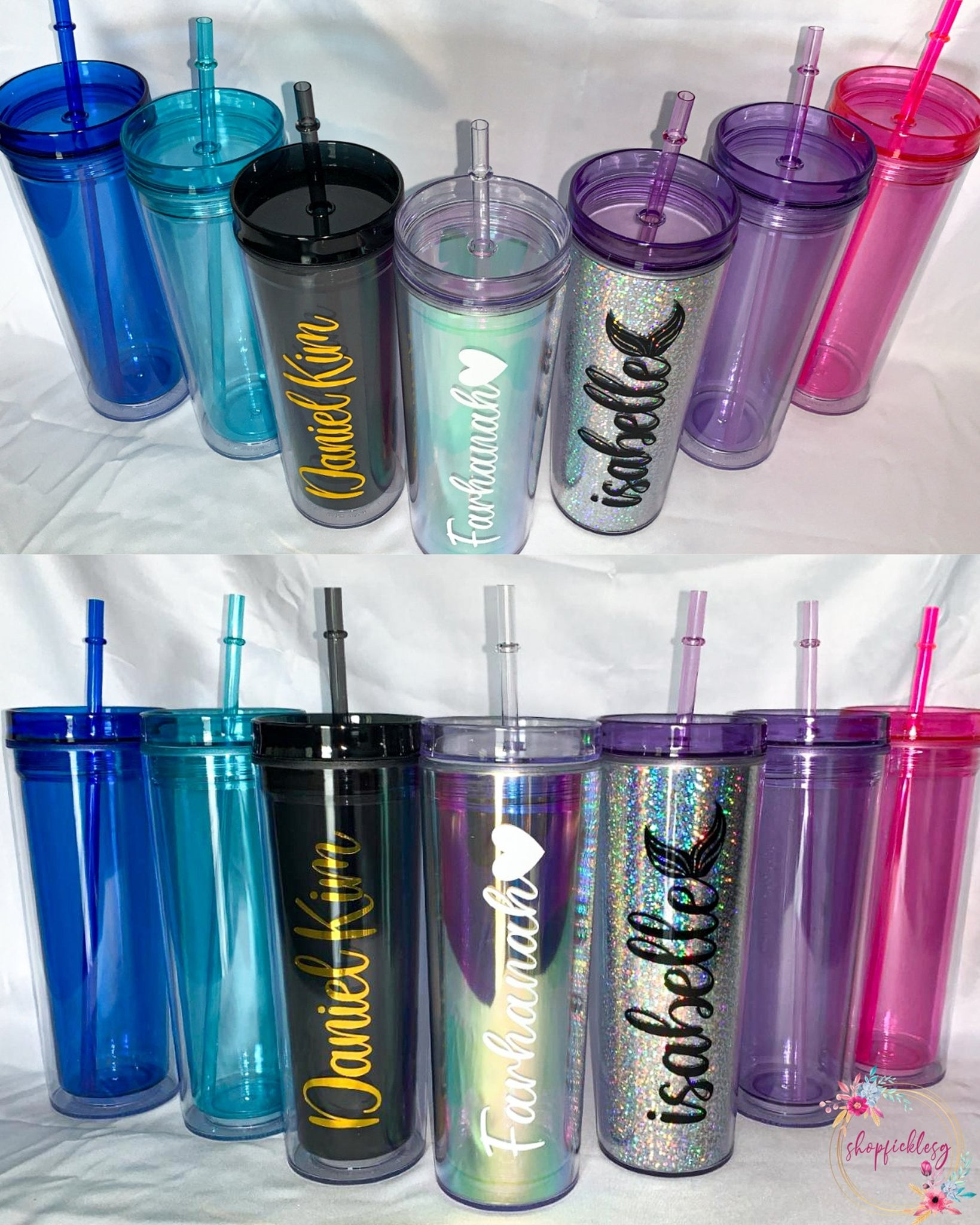 Customizable acrylic tumblers by Shopficklesg which comes in various colours and fonts