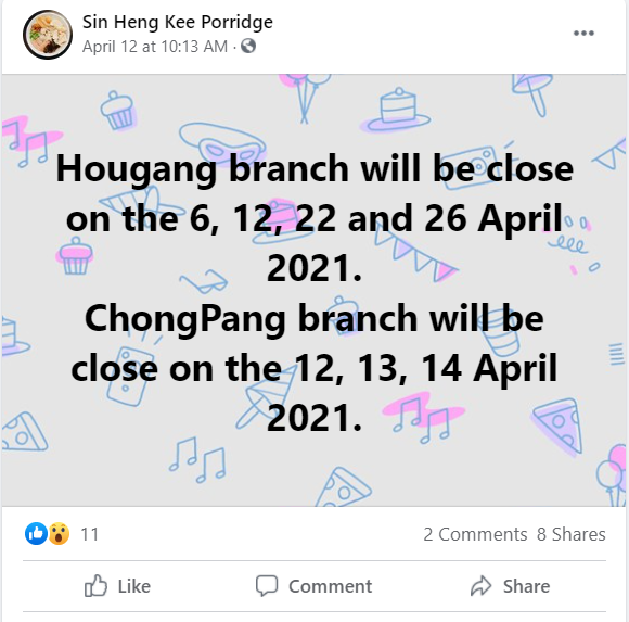 Sin Heng Kee Facebook page