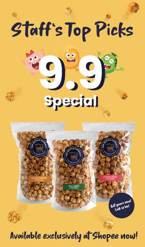 """Featuring The Kettle Gourmet's special Shopee 9.9 Bundle """"Staff's Top Picks"""", showcasing flavours - Salted Caramel, Chicken Floss and Nasi Lemak."""