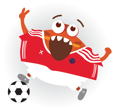 Kenny in a Manchester United themed red jersey