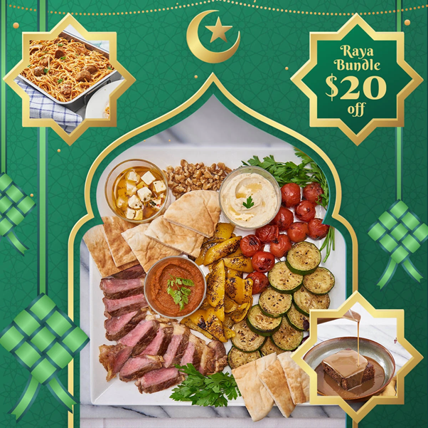 Hari Raya Bundle featuring all sorts of foods like meat and snacks