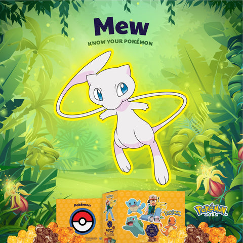 The Kettle Gourmet Pokémon gift box contains 5 different collectable cut-outs up for grabs, such as Mew.