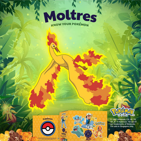 The Kettle Gourmet Pokémon gift box contains 5 different collectable cut-outs up for grabs, such as Moltres.