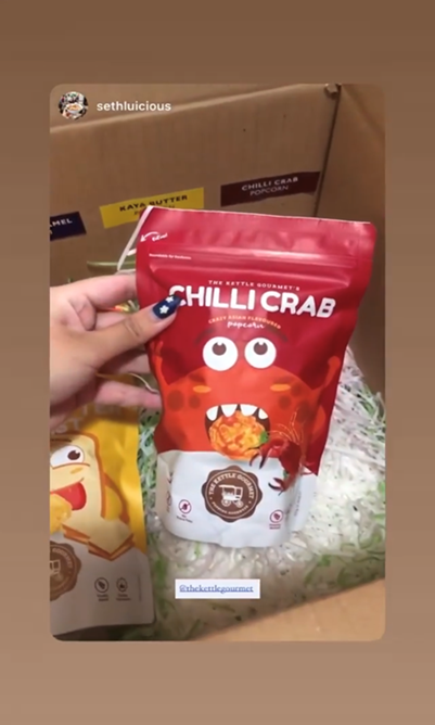 Our Chilli Crab Snack Monsters being featured on Seth Lui's Instagram page