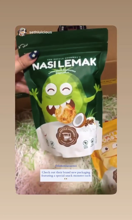 Our Nasi Lemak Snack Monster being featured on Seth Lui's Instagram page
