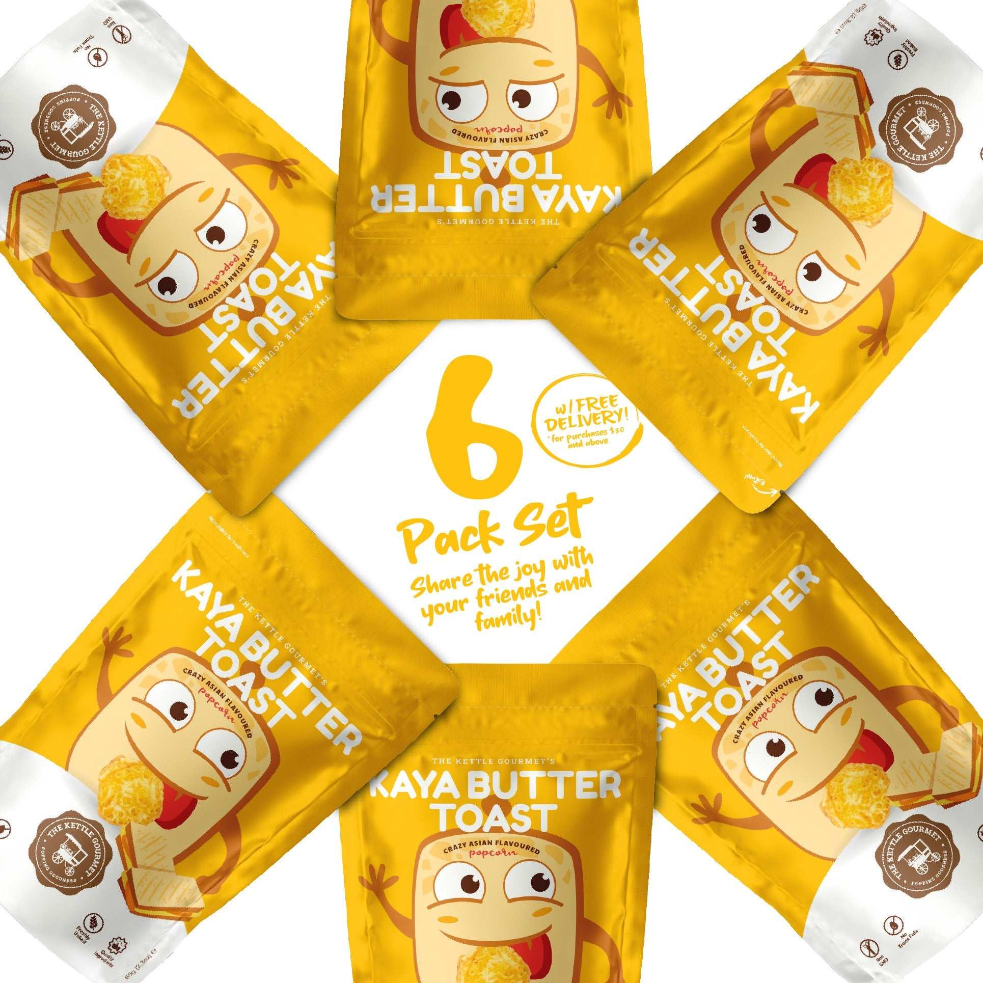 The Kettle Gourmet's Kaya Butter Toast 6 pack set containing 6 Kaya Butter Toast Snack Monsters