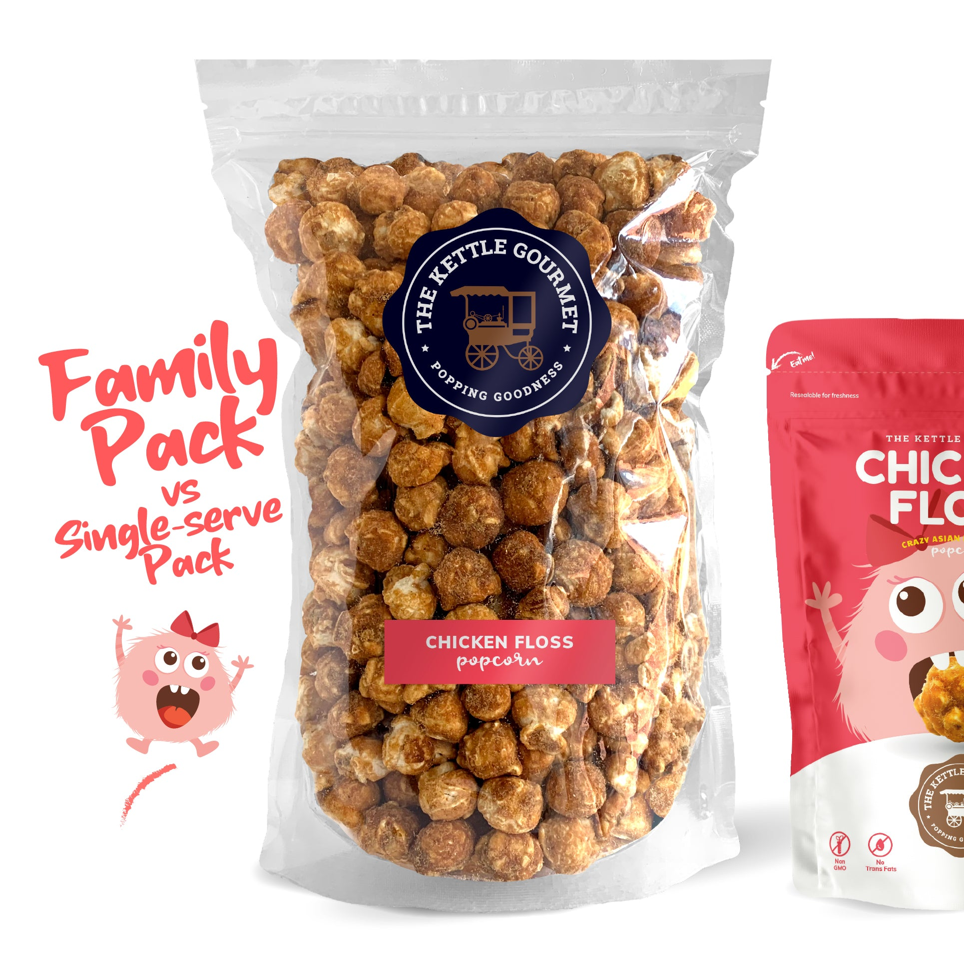 TKG Chicken Floss Flavoured Popcorn (Family Pack vs Single-serve)