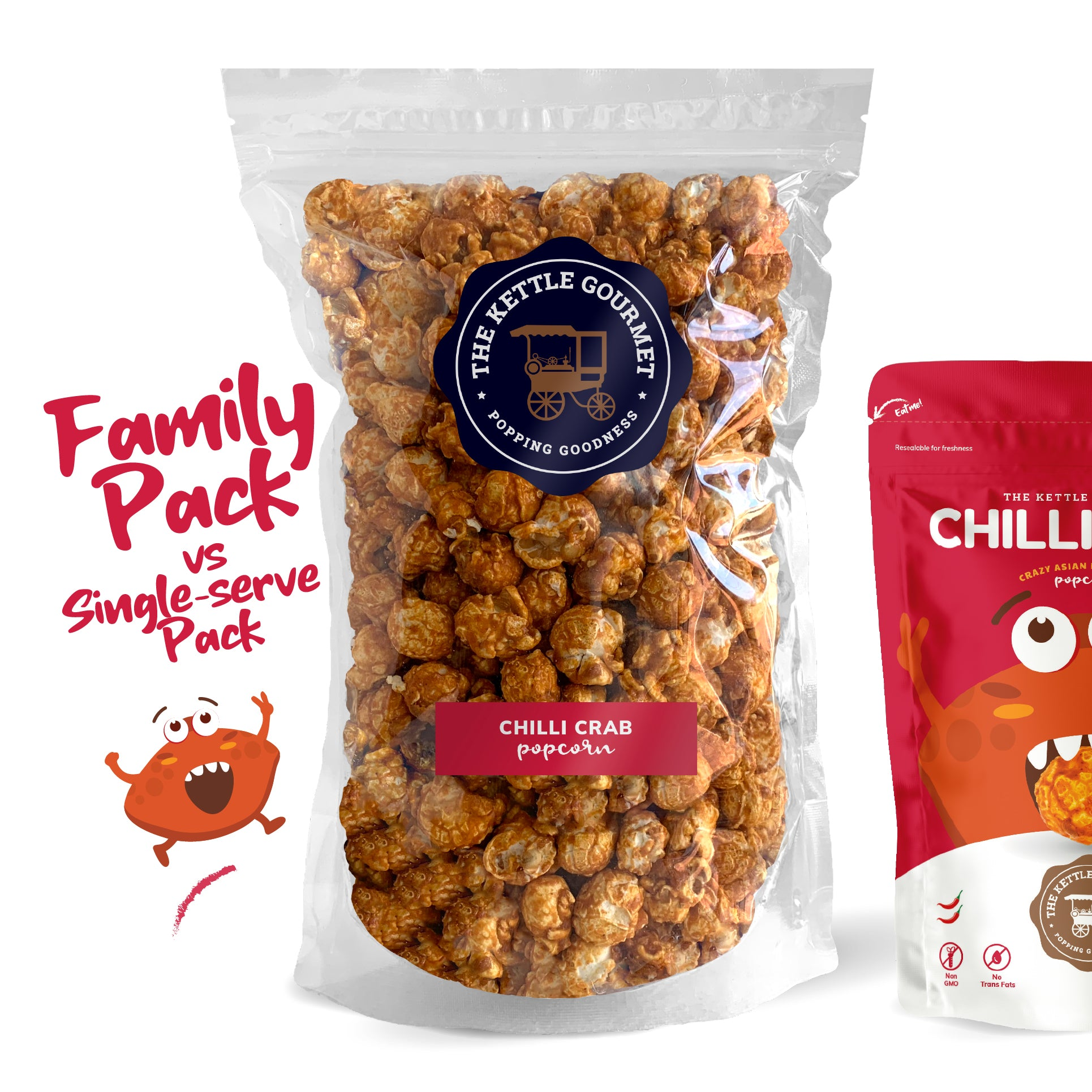 TKG Chilli Crab Flavoured Popcorn (Family Pack vs Single-serve)