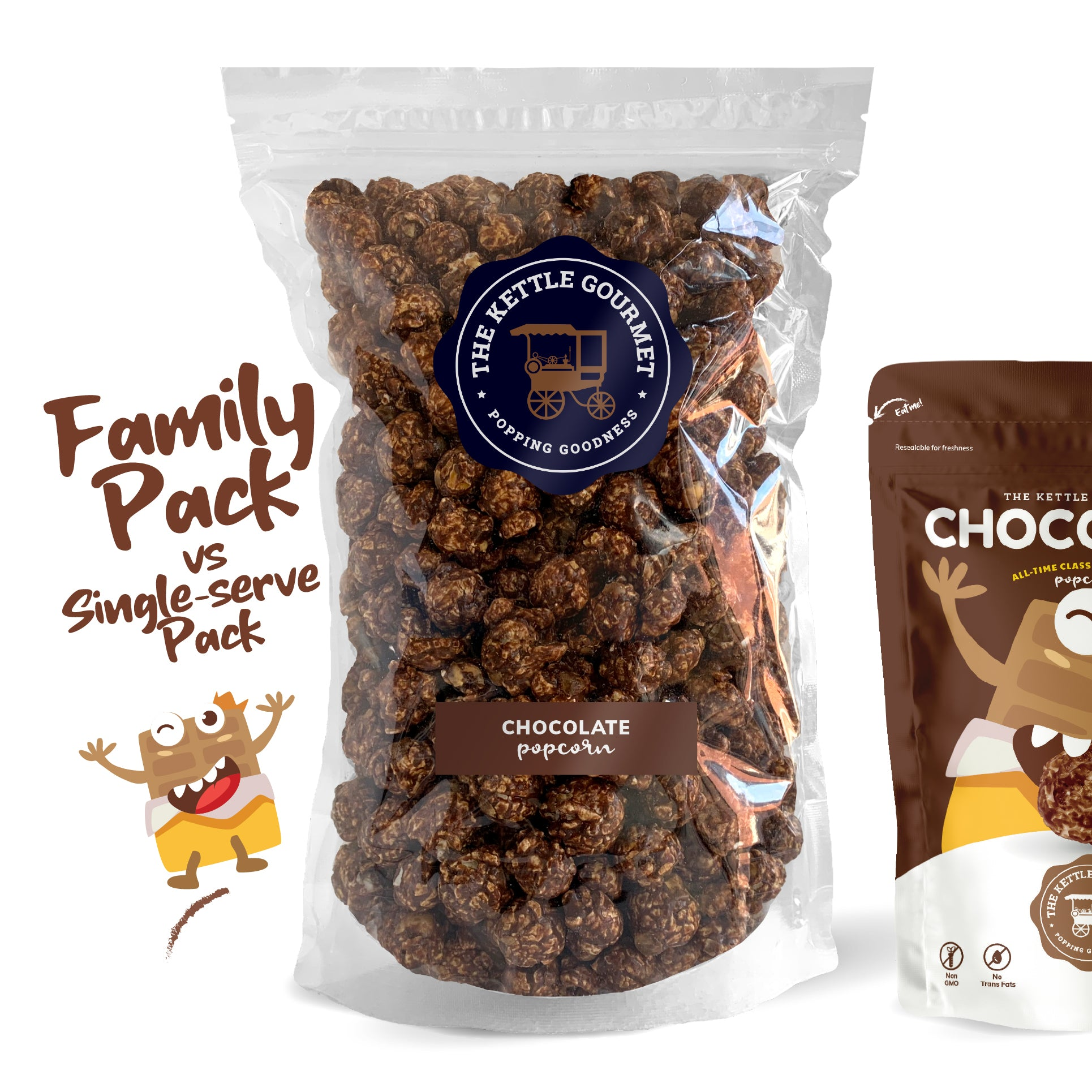 TKG Chocolate Flavoured Popcorn (Family Pack vs Single-serve)
