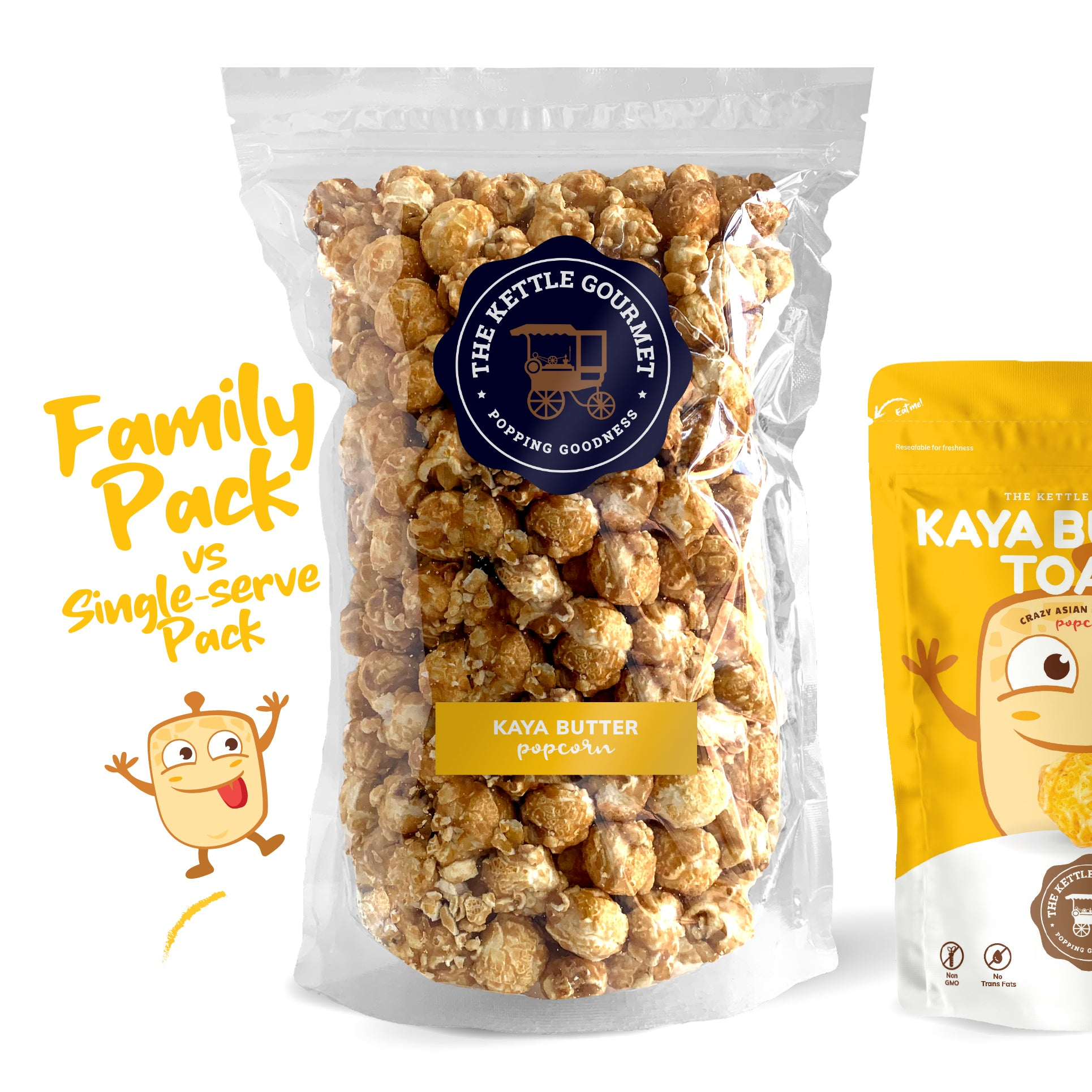 TKG Kaya Butter Toast Flavoured Popcorn (Family Pack vs Single-serve)