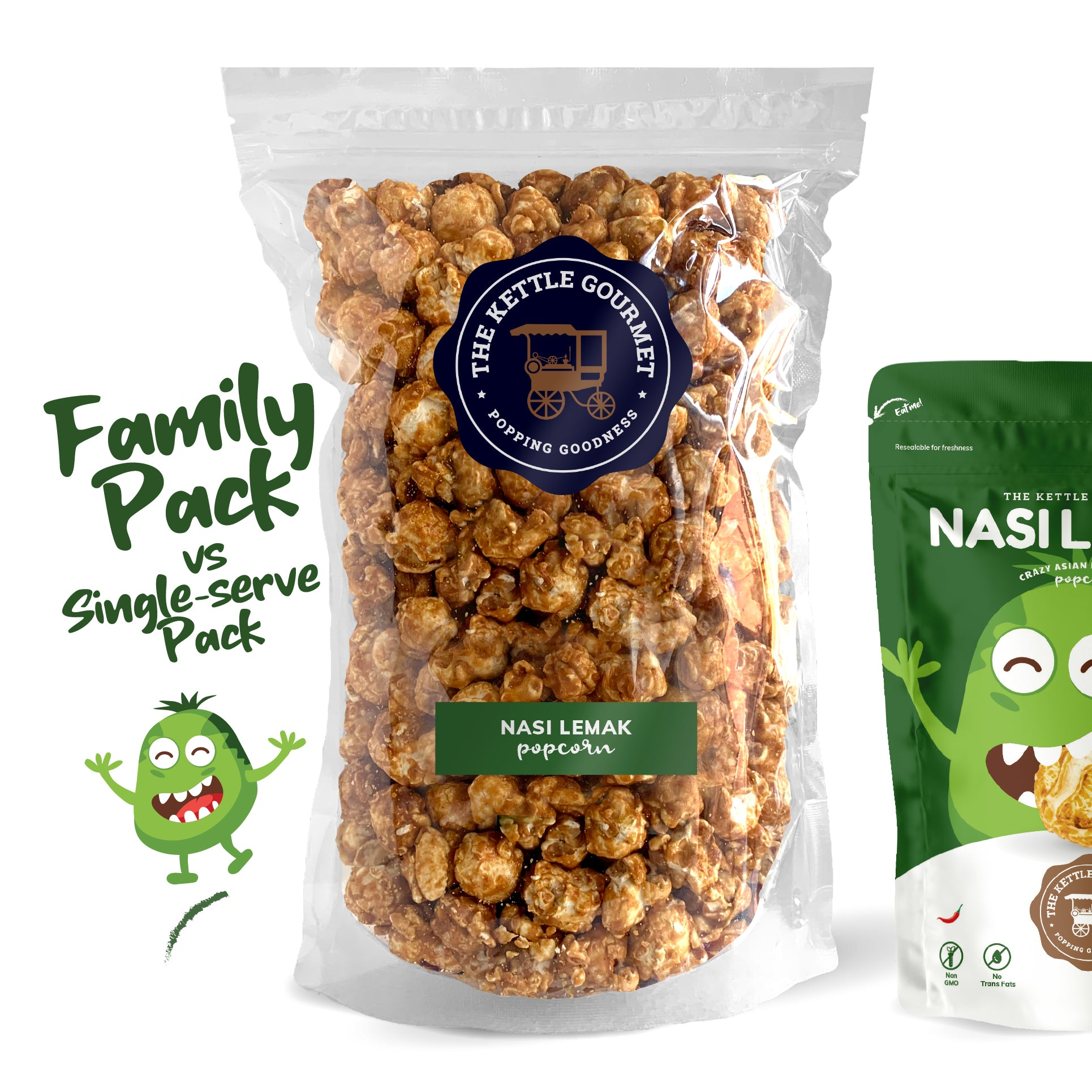 TKG Nasi Lemak Flavoured Popcorn (Family Pack vs Single-serve)