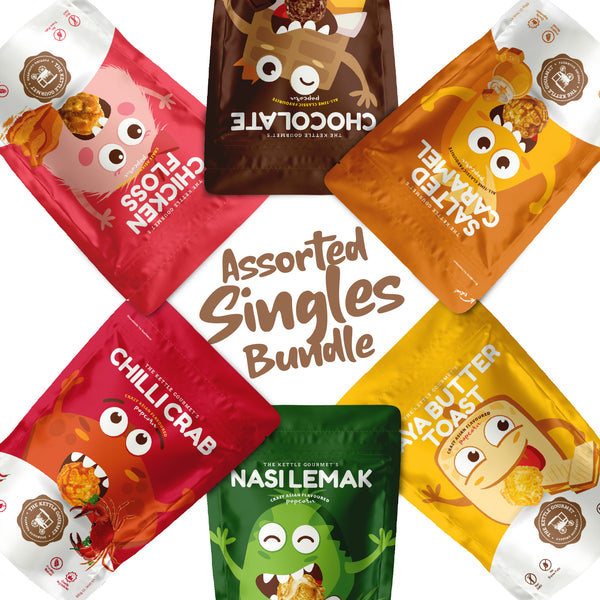 This bundle features all flavours of our popcorn in our Snack monsters, and is great for those who are looking to try out all the unique popcorn flavours!