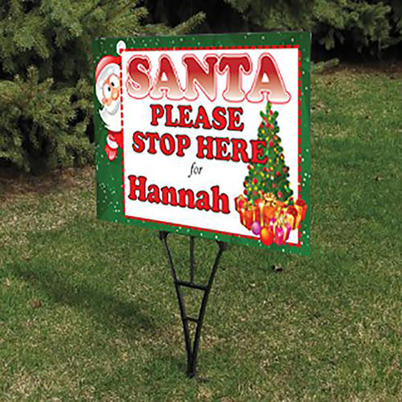 Personalise Santa Please Stop Here Sign 👋🎅
