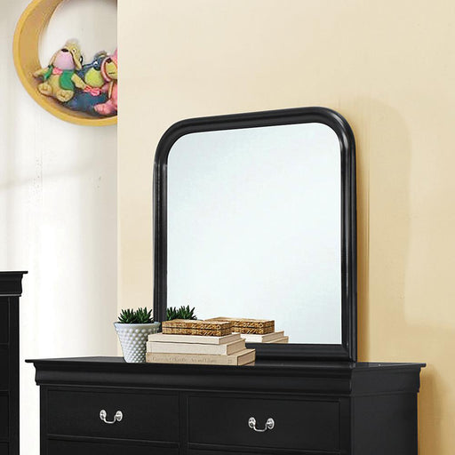 Louis Philippe Black Square Dresser Mirror With Rounded Edges image