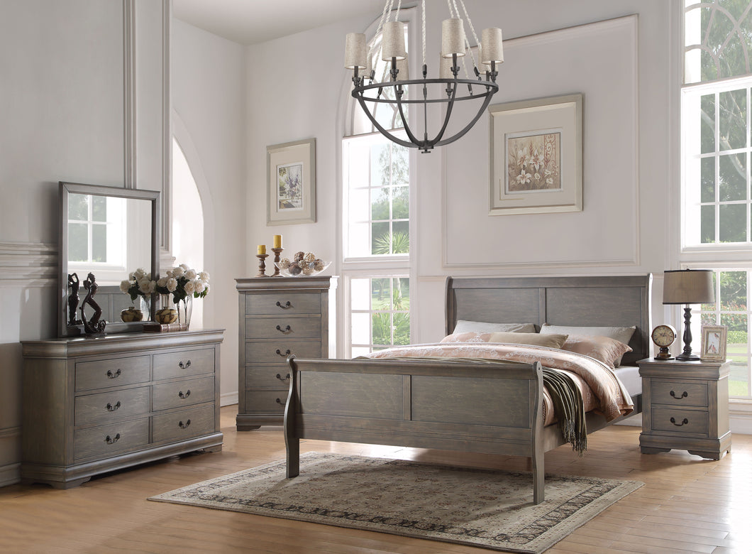 Louis Philippe Antique Gray Eastern King Bed image