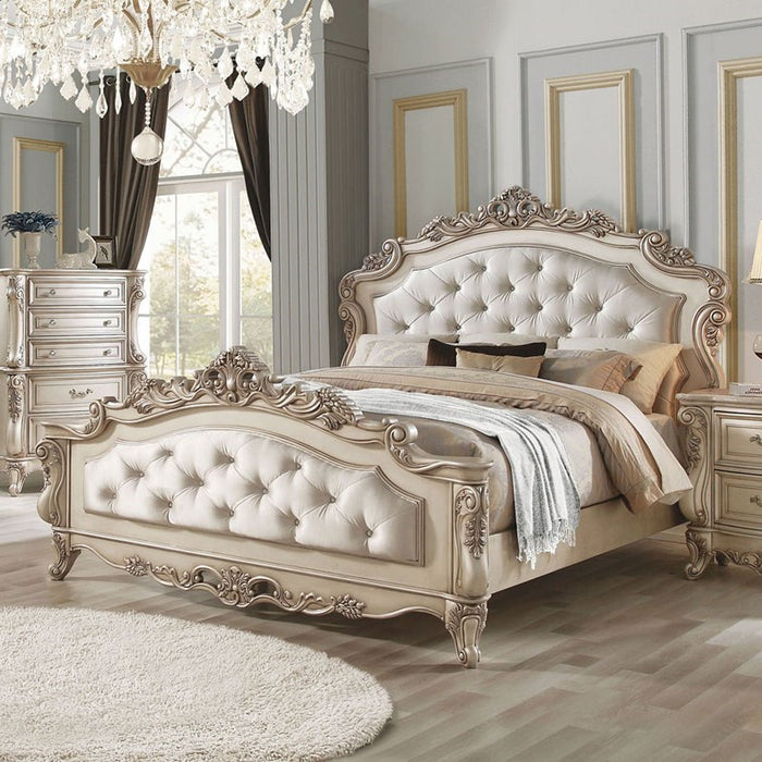 Acme Furniture Gorsedd Queen Panel Bed in Antique White image