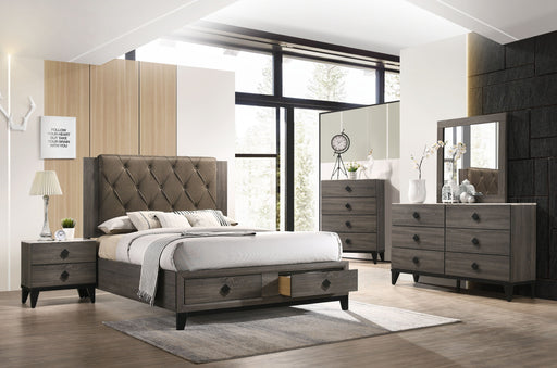 Avantika Fabric & Rustic Gray Oak Queen Bed (Storage) image
