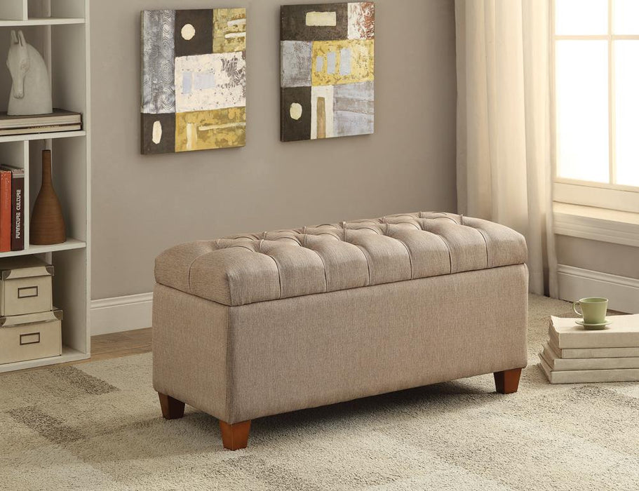 Tufted Taupe Storage Bench image