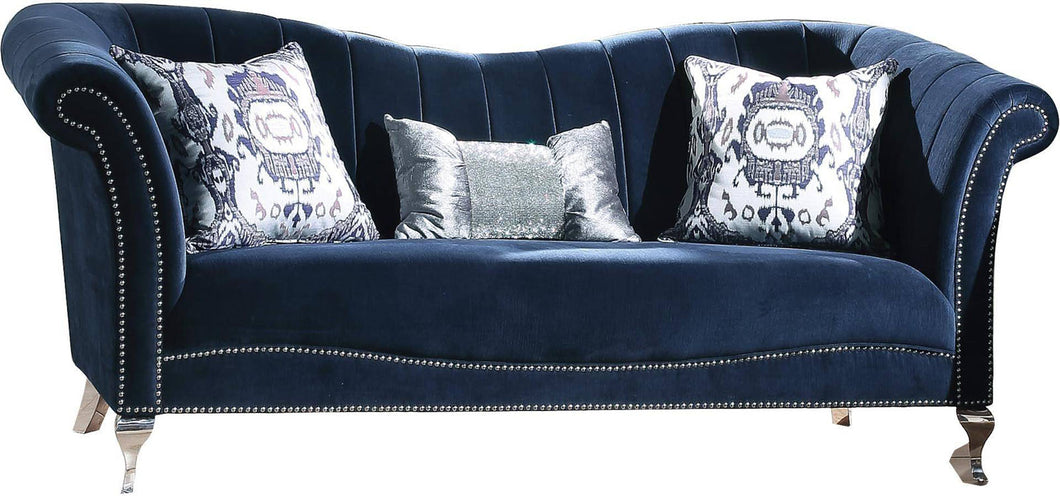 Jaborosa Blue Velvet Sofa w/3 Pillows image