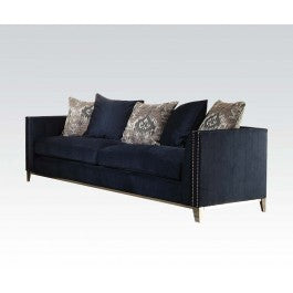 Acme Phaedra Sofa with 5 Pillows in Blue Fabric 52830 image