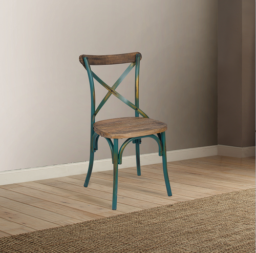 Zaire Antique Turquoise & Antique Oak Side Chair (1Pc) image