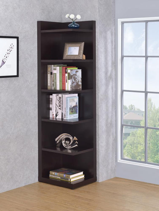 Transitional Cappuccino Corner Bookcase image