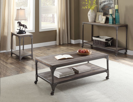 Gorden Weathered Oak & Antique Nickel Coffee Table image